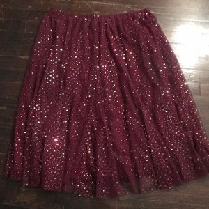 Anthropologie Sparkle Maroon Tulle Midi Skirt